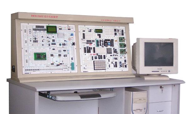 该实验装置是由控制屏、实验桌、内置直流稳压电源和漏电断路器组成。控制屏有两大块491*417的双面印刷线路板组成。实验系统电路部分:开放式4*6键盘实验电路,开放式6位动态数码管显示电路; 开放式6位静态数码管显示电路;128*64组成的LCD图文实验电路;16*2液晶显示电路;16*16 LED点阵电路;8250、8251、8253、8255、0809、0832、RS232/485等常用芯片接口电路;小型直流电机、步进电机、温度压力、电子音响电路喇叭、8MHZ频率源模块、24MHZ频率源模块、16路开关
