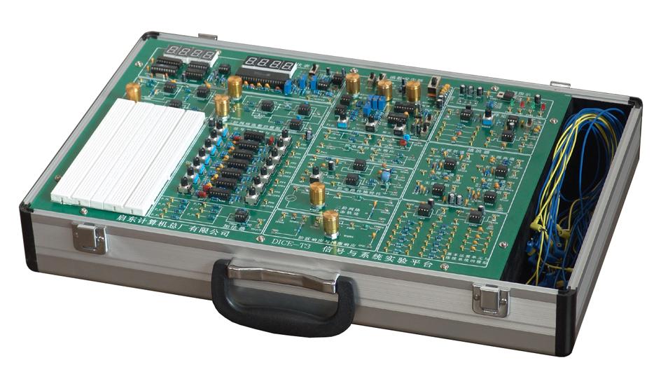 DICE-T3型信号与系统实验仪 一、系统特点: 本公司专门为《信号与系统》课程而设计的信号与系统系列产品中DICE-T3型信号与系统实验仪属普及型的一种,性价比高,实用性强,适用于各类高等院校教学实验使用,该实验仪具有如下特点: 1、紧扣教学大纲、内容简洁、重点突出:对信号与系统课程的大部分章节均提供有实验项目,使实验内容具有教学性和通用性,同时也使学生通过实验环节更透彻得掌握原理性的知识。 2、电路模块化设计:实验单元均以模块来划分,实验名称与模块名相对应。模块内的电路在相应的位置画出,使实验者一目