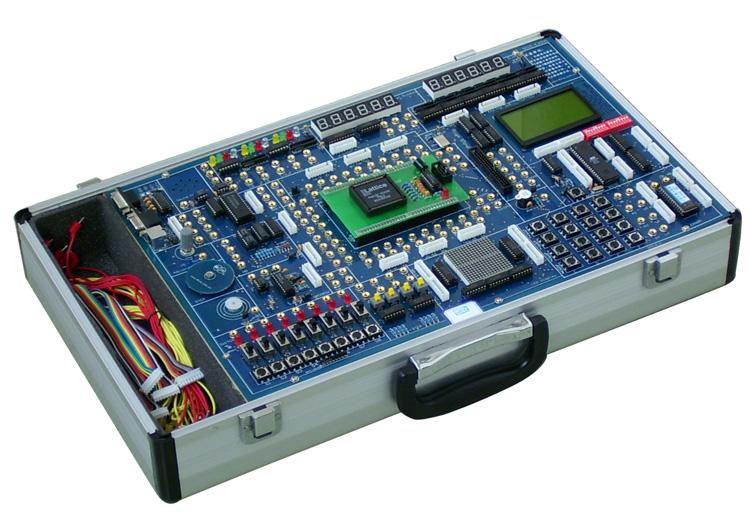 DICE-E2000型实验开发系统 DICE-E2000型实验开发系统是一种多功能、高配置、高品质的 EDA教学与开发设备。适用于大学本科、研究生的EDA教学、课 程设计和毕业设计,也适用于大专院校、科研所项目开发。 产品特点 该系统由于采用了独特的主板+下载板双板式结构,实验用可 编程PLD器件的I/O接口与输入输出器件(开关、按键、数码管、 发光二极管、信号源)全部采用自主连接。在PLD器件有限的I/O 资源条件下,最大限度的连接上尽可能多的输入输出器件,使得 DICE-EDA型实验开发系统能